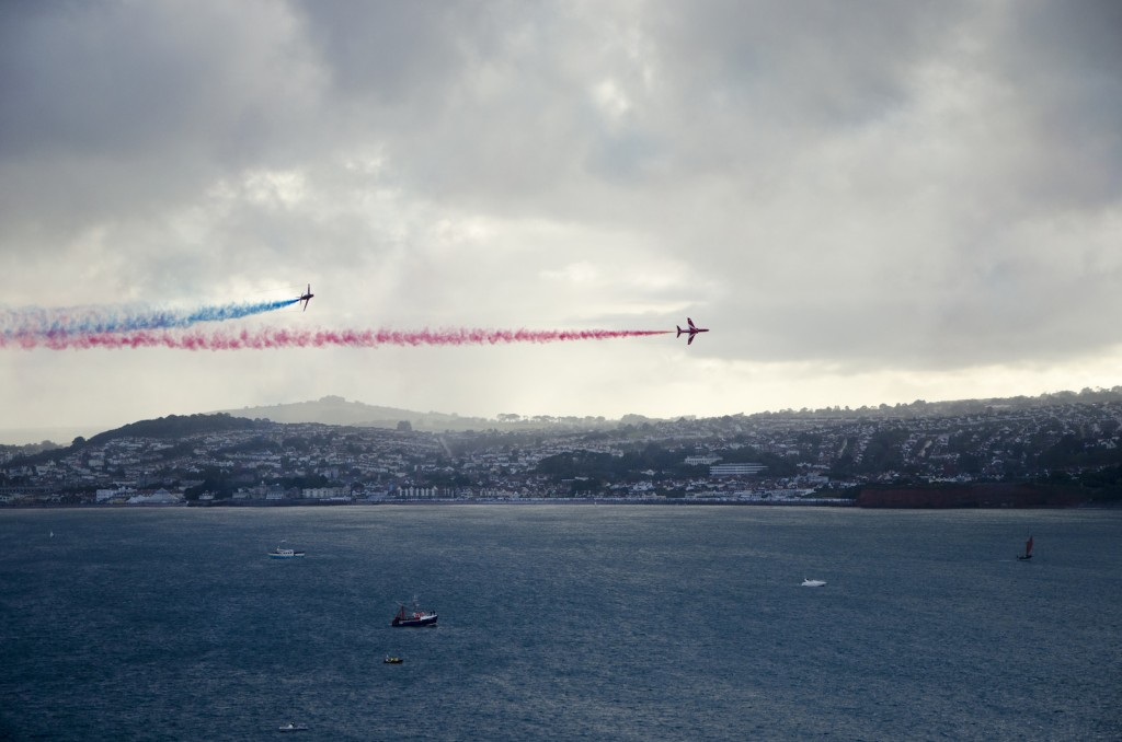 red arrows over torquay