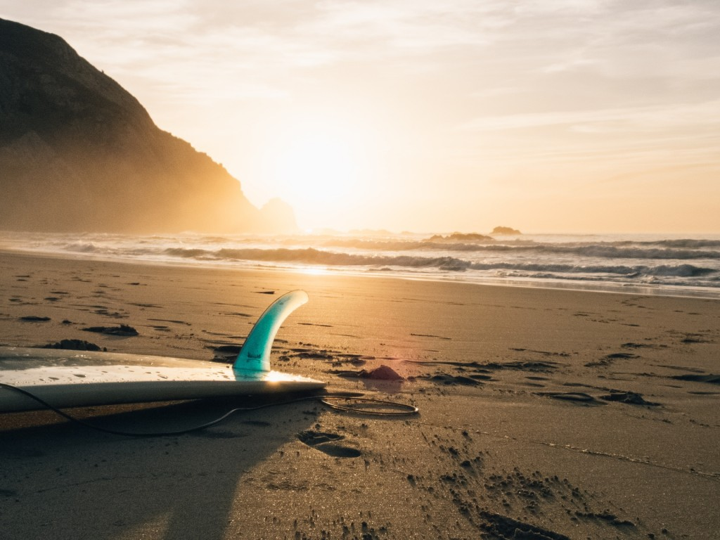 surfboard in sunset